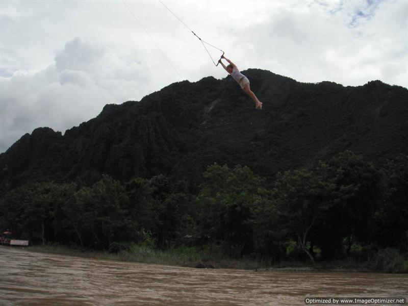 Vang Vieng tubing - Polly on the trapeze