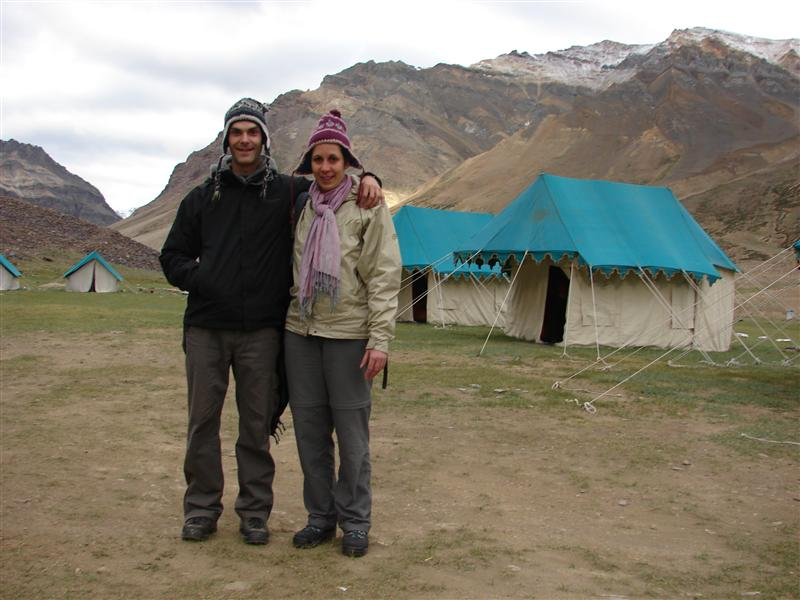 After a cold night under canvas in Sarchu, 4400m