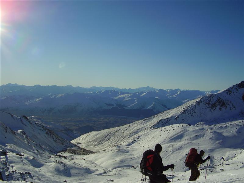 Looking out over the Remarkables - walking to the top of the ski field