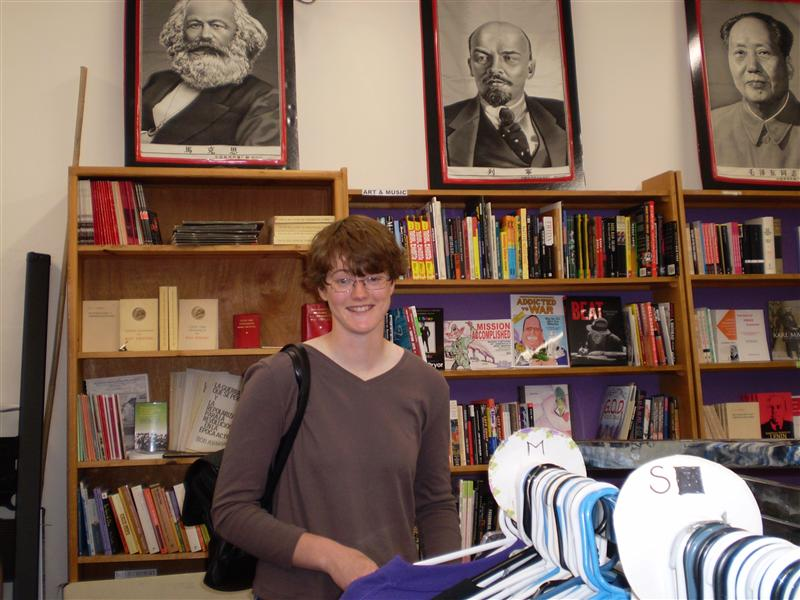 Myself in the communist bookstore. Won't my friends laugh? Hope the army doesn't realise I've become a secret radical while I've been gone...