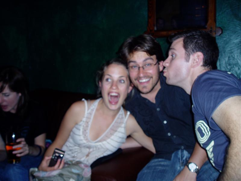 Bridget, Mark, and their friend at Irish Pub
