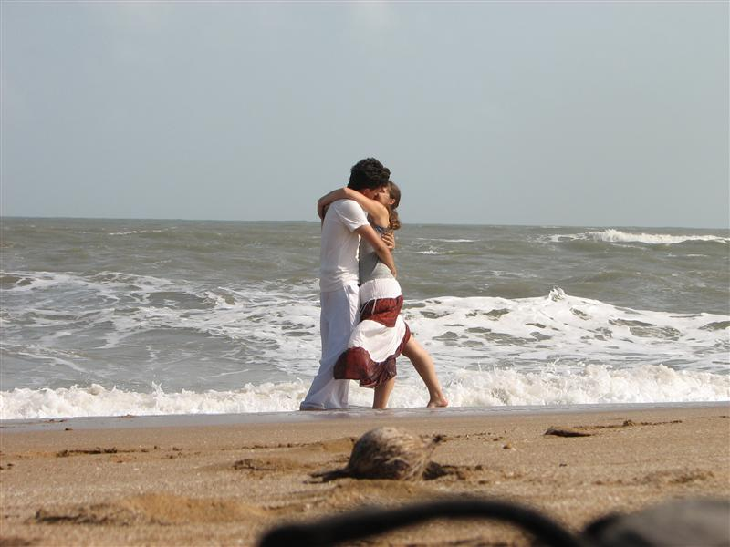 Us kissing on the beach