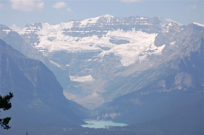 View of Lake Louise, Chateau & Lake, from Mountain