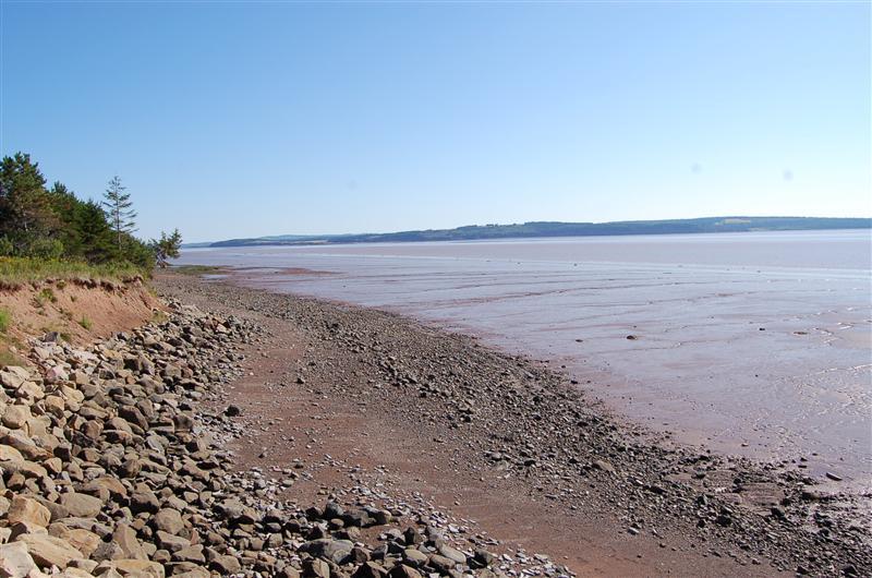 lower beach shoreline ,  low tide cf B