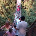 Sue on uspension bridge, Lynn Valley gorge