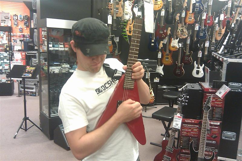 Adam Rockin' out at Guitar Center
