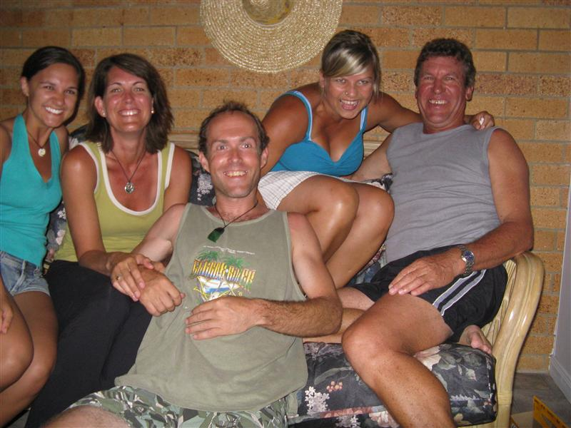 Fun with Couchsurfers in Noosa - post-BBQ laughs