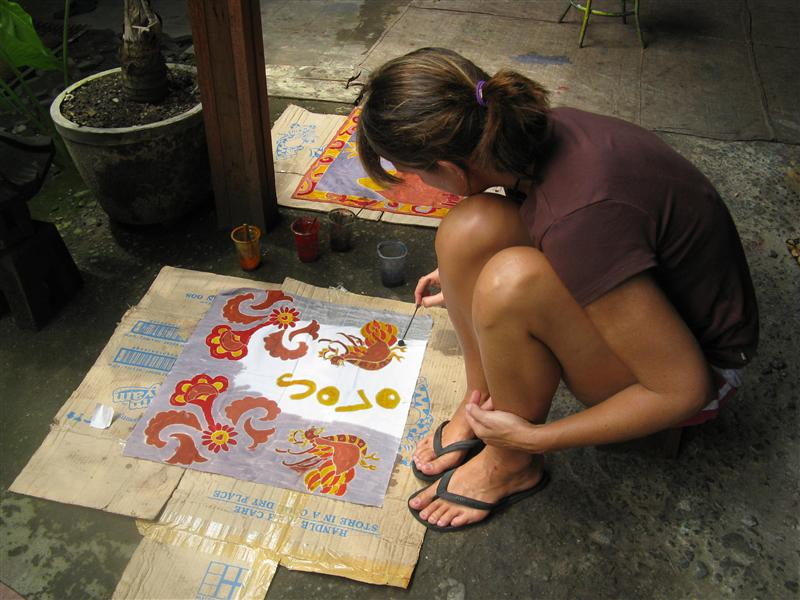 Hand painting the batiks