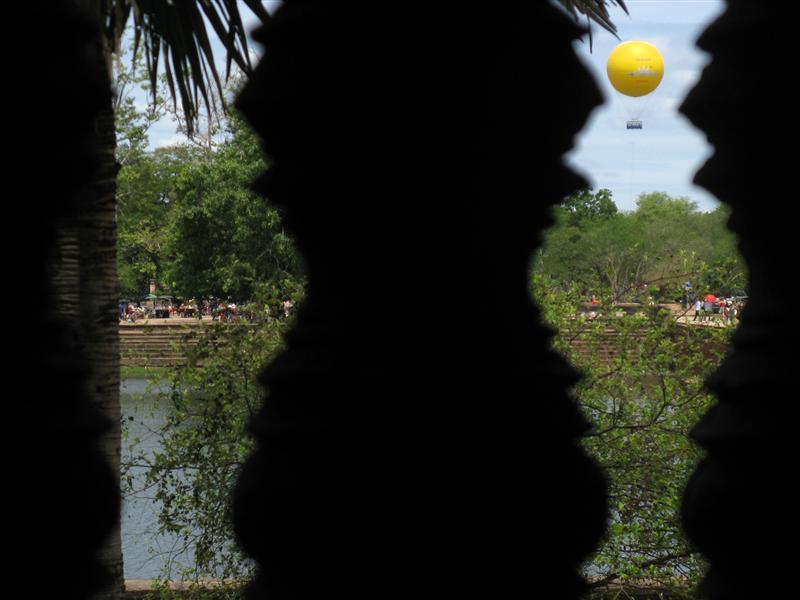 Views of a hot air balloon from Angkor Wat