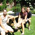 Stoney, Jen and Tim enjoy a beer together at the Cardrona Motel