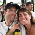 Tim and Jen share a brewski on Jim's bus