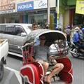 Tim and the becak driver in Solo