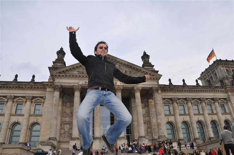 Jumping in front of the Reichstag