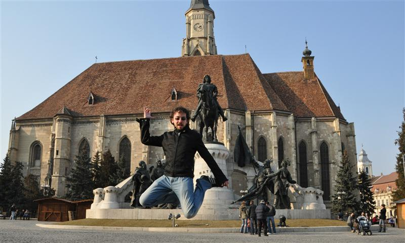 Jumping in front of Saint Michael church and Mathias Corvinus statue