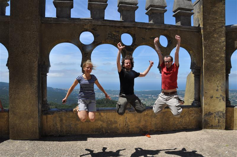 Jumping in Sintra Pena National Palance