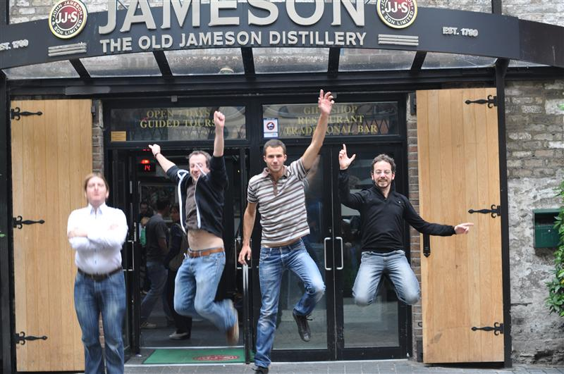Jumping in front of the former Jameson Distillery