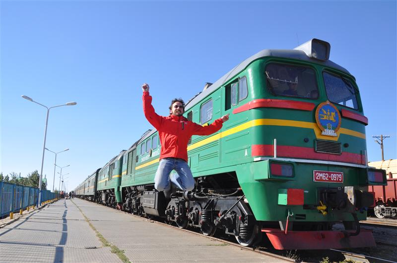 Jumping in front of the Mongolian locomotive