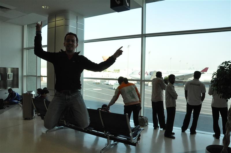 Jumping in Doha airport