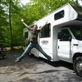 Jumping in front of Hervé the RV
