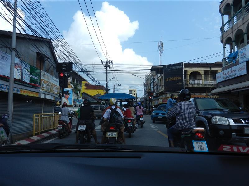 Medium traffic in Phuket - not raining though!