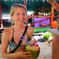 Drinking out of a coconut