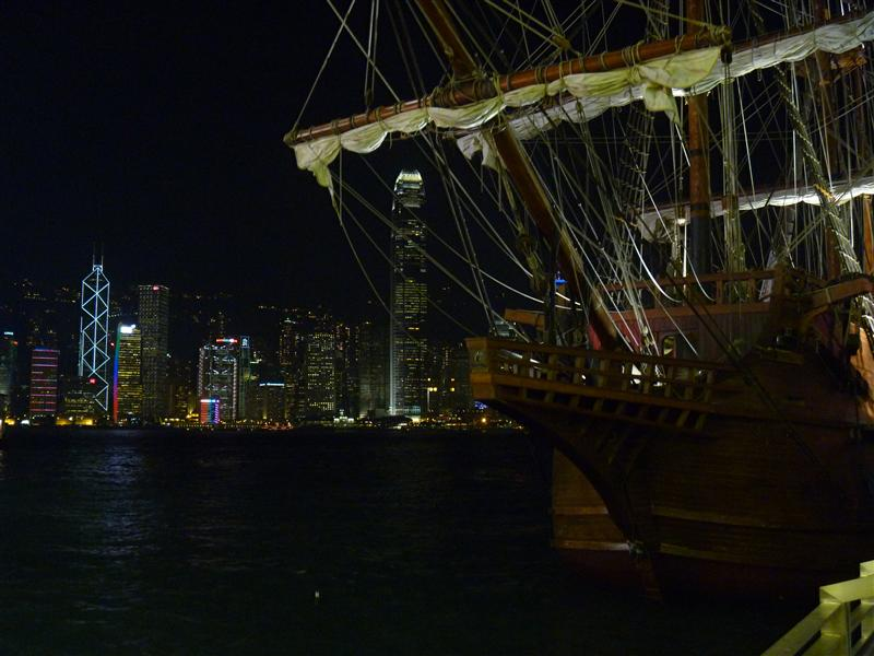 Hong Kong Island and historic boat