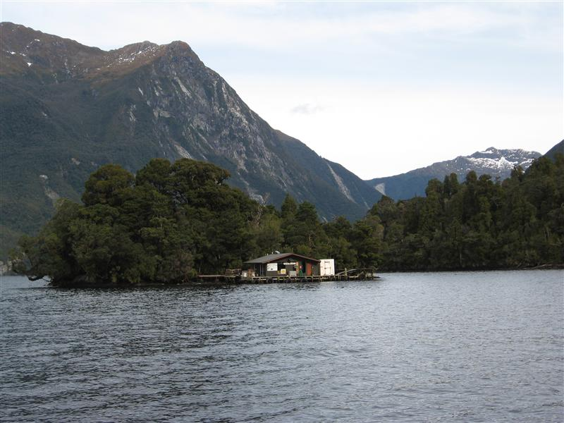 A tiny fishing hut in the middle of Doubtful Sound