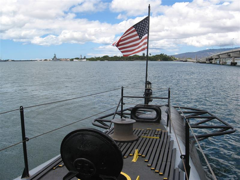 View from the back of the submarine USS Bowfin, Pearl Harbor