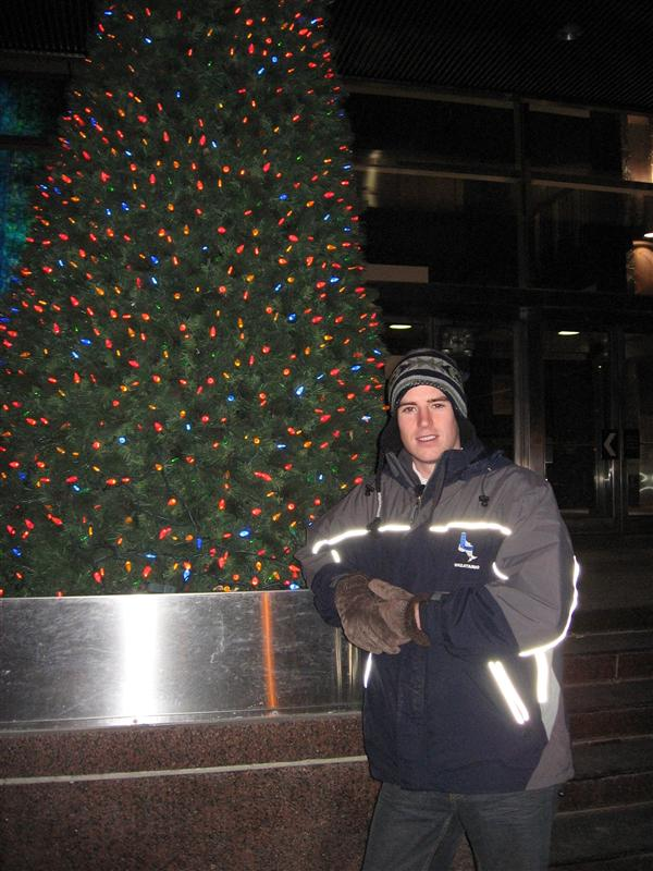 Me, dressed up like a Canadian, and a tree