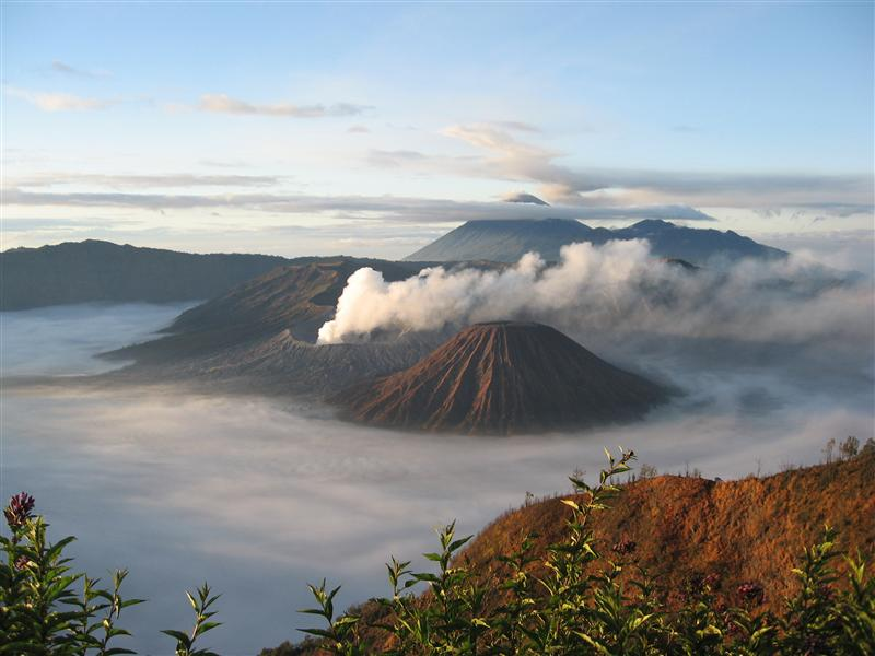 View of Mount Bromo from the edge of the large crater