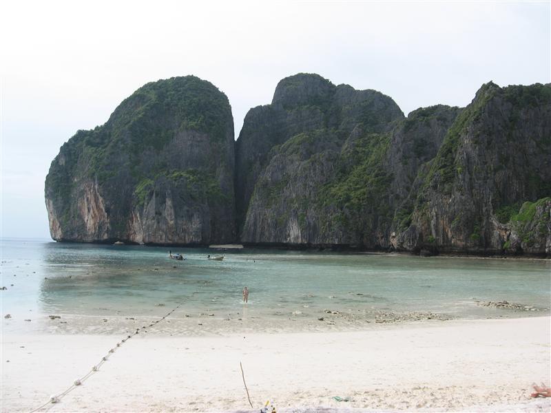 Maya Bay.  At low tide.