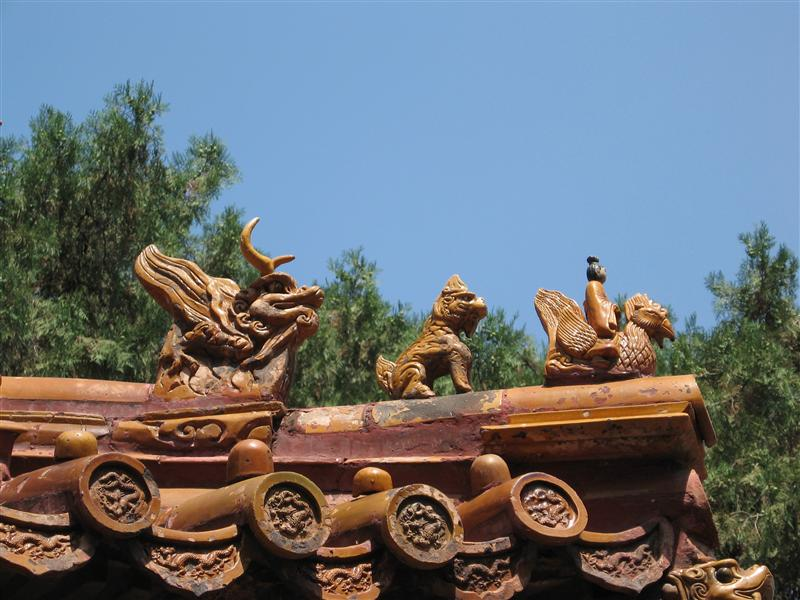 Animals carved onto the roof of a palace
