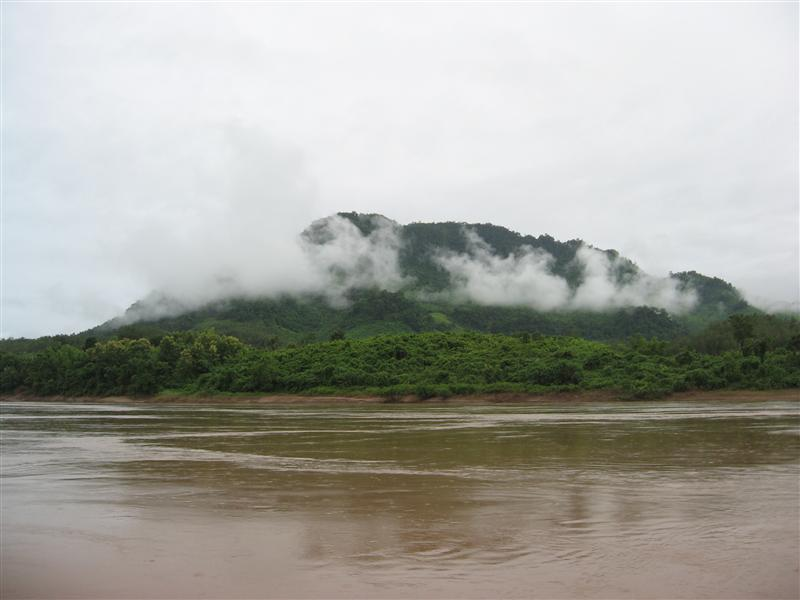 Mist on mountains next to Mekong