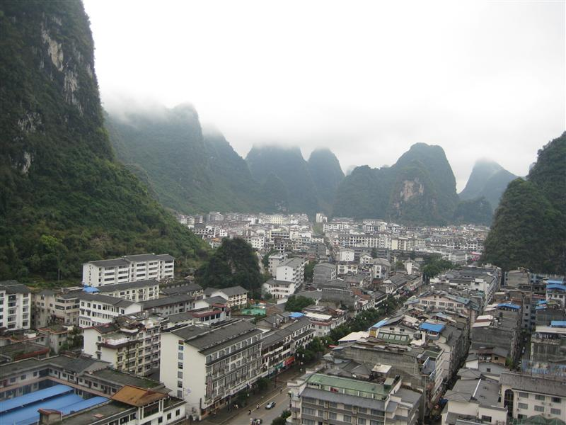 more of the town tucked into the mountains