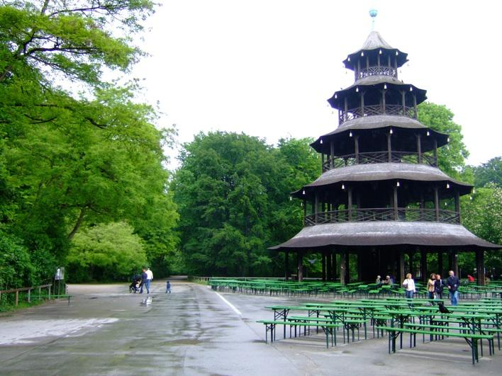 Chinesischer Turm with beer garden in Englischer Garten -  the 2nd biggest garden in Europe