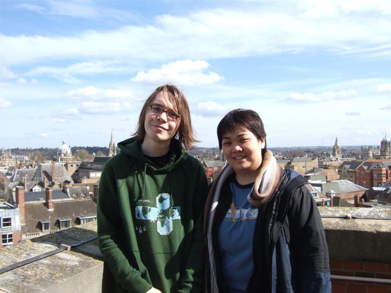 Host Mark & me at top of Nuffield Tower