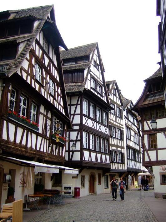 some streets in Strasbourg - cute buildings like this thru-out d whole city/town