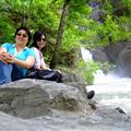 kat n me sitting by d river of glacier water -Trummelbach Falls