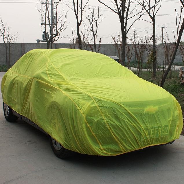 Yellow car covers on the trip