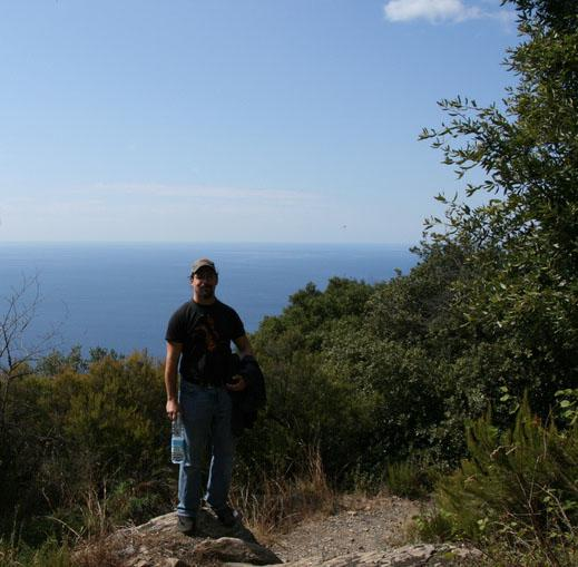 James hiking along the Italian Coast