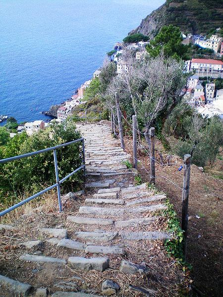 The hike down into Riomaggiore from the hilltops