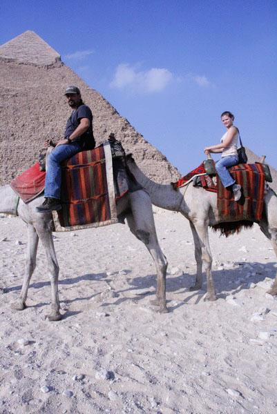 James and I riding camels in front of the Pyramid of Khafre