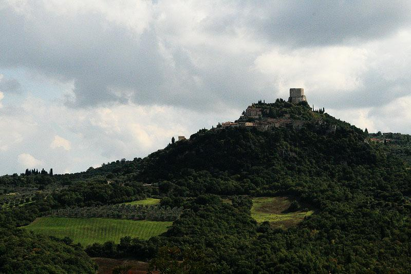 Castiglione d' orcia in the distance from Bagno Vignoni