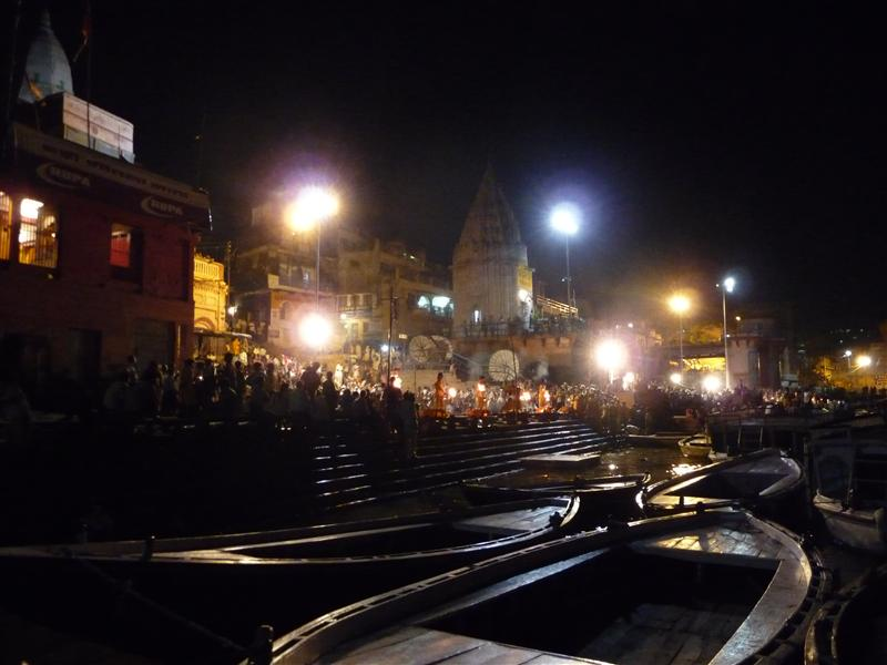 View of Main Ghat at night from river