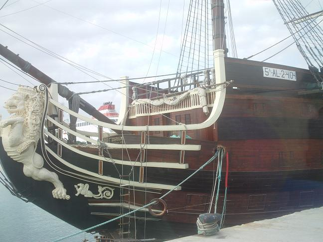 Rear of replica of galleon that fought at Trafalgar