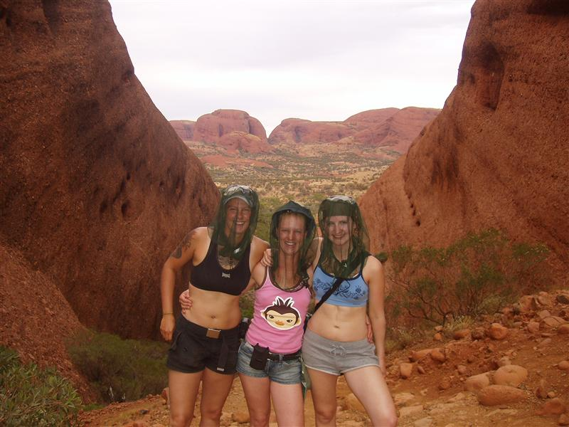 Me, Suzanne And Allison Sporting The Latest In Outback Fashion