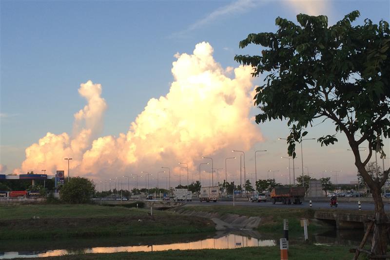 View towards the ocean on the van ride to Suvarnabhumi Airport
