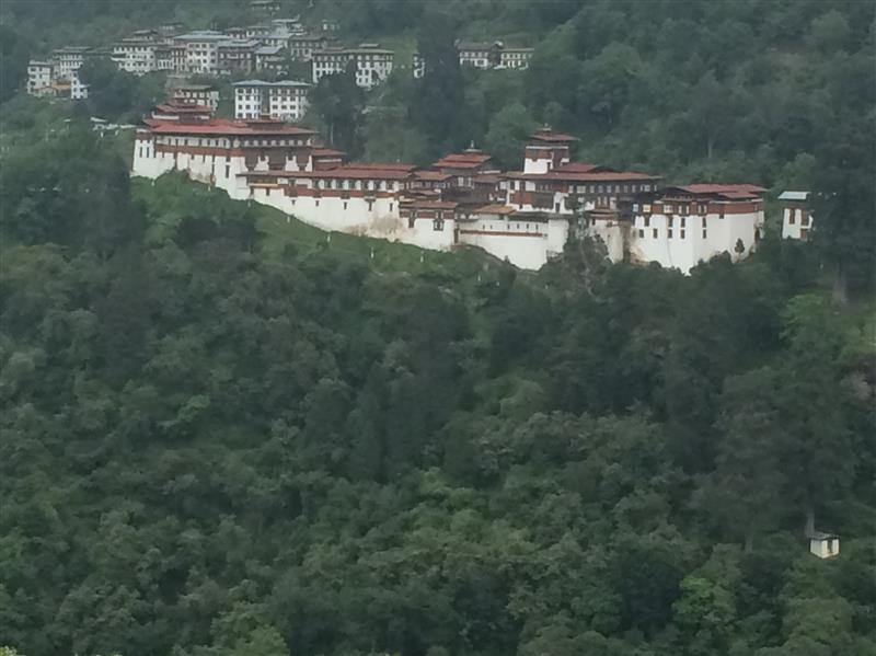 the Dzong at Trongsa, from across the valley