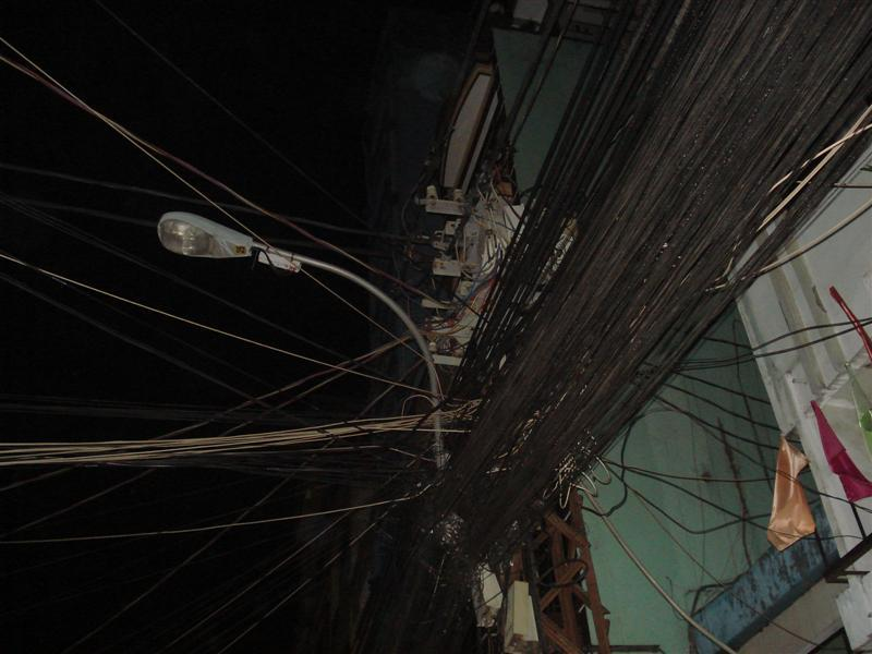 Wires are messy everywhere in Vietnam