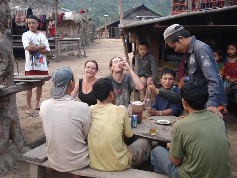 Drinking lao-lao with the vilagers